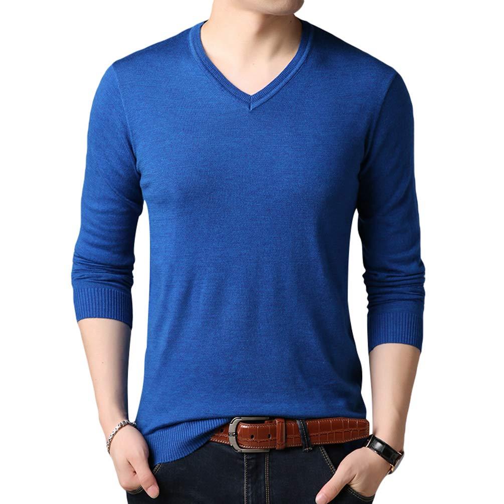 Manica Lunga V-Collo Slim Maglione Pullover Yuanu Uomo Autunno Colore Solido Business Casual Maglia Sweater