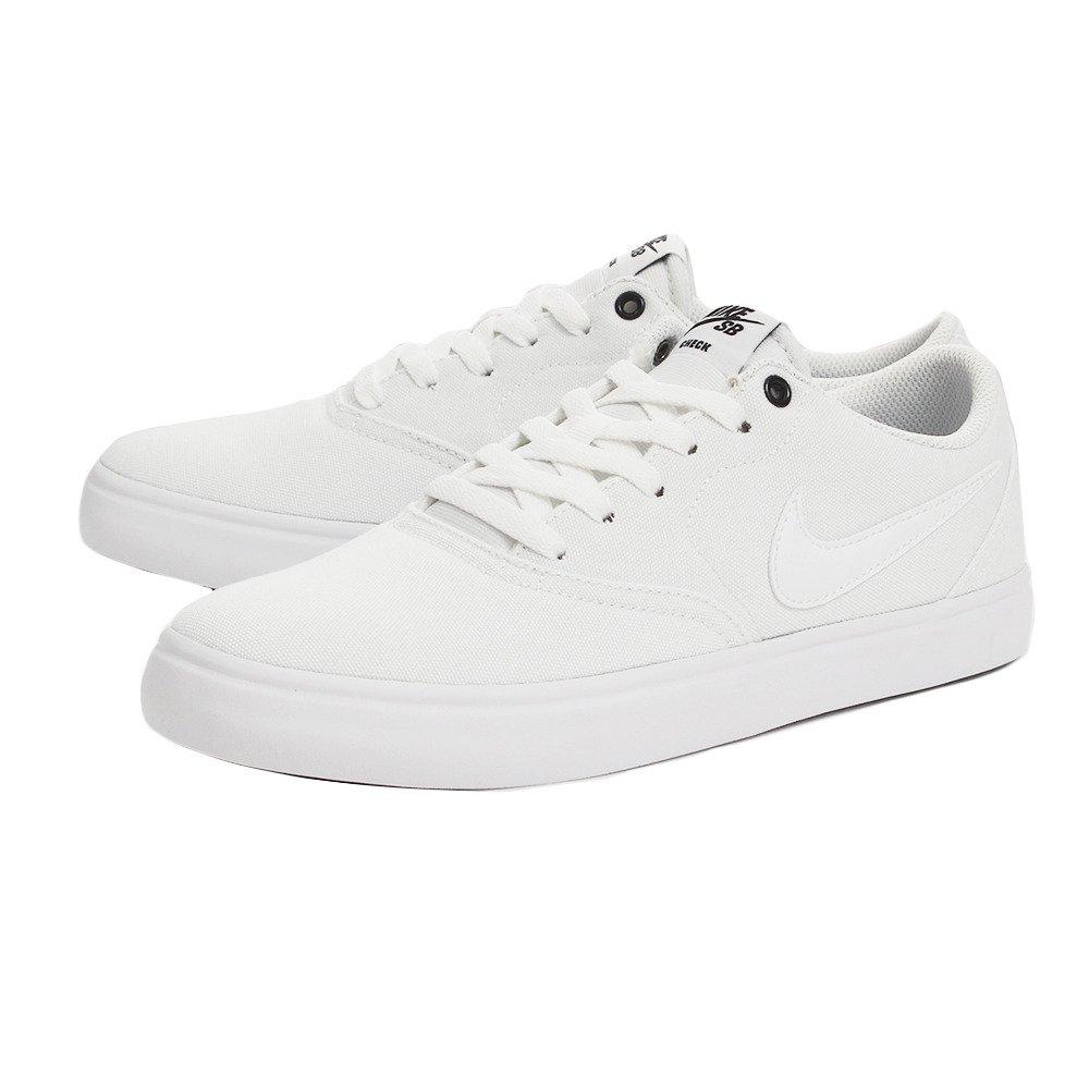 clearance sale recognized brands buy good Nike Men's SB Check Solar Canvas Skate Shoe, Sneaker, White/White, 8 US M