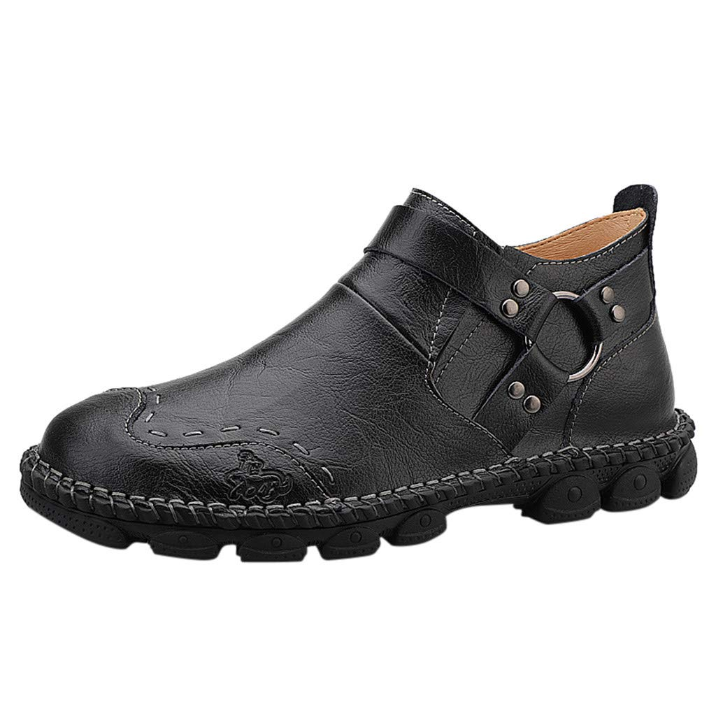 Men's Loafer Shoes Driving Casual Walking Leather Comfortable Non-Slip Handmade Slip On Flats Shoes (US:7.5, Black) by Suoxo Men Shoes