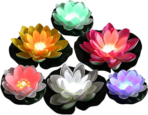 ARDUX Pack of 6, Christmas Battery Operated Mixed Colors Waterproof LED Lotus Light, Artificial Lotus Floating Light, Color Changing Lily Lotus for Party Centerpieces, Ponds Fish Tank