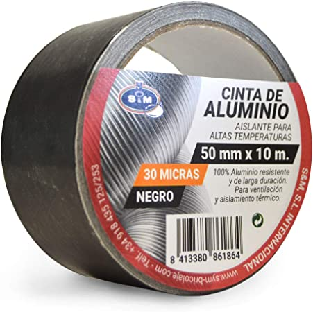 Rolle 10 m x 50 mm schwarz 30 Mikron. Aluminiumband