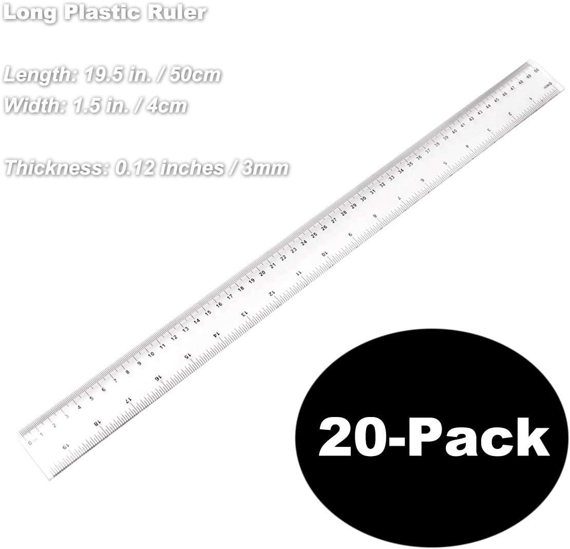 confezione da 20 pezzi scala minima 1//16 in Righelli da 19 pollici da 50 cm Righello // 1 mm Strumenti di misura per lhome office scolastico pollici e centimetri in plastica dura trasparente
