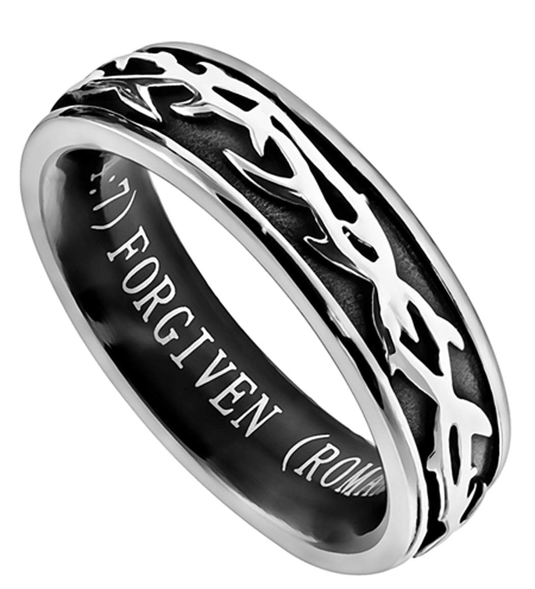 The Quiet Witness K46 Crown of Thorns Forgiven Ring Christian Forgive Scripture Biblical Forgiveness Wedding Band John 3:16 (8)
