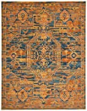 Stone & Beam Old World Area Rug, 6'7 x 9'6, Blue and Orange