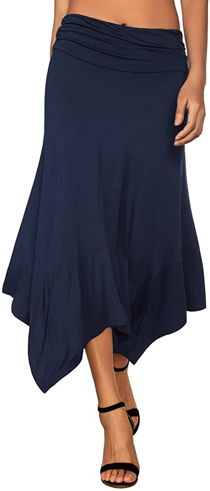 DJT-Falda de Punto para Mujer con Dobladillo Irregular Azul Small ...