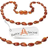 Baltic Amber Teething Necklace, Certified Amber Beads, 50% Higher in Value and Effectiveness, Extra Safe Teething Necklace with Teething Pain & Drooling Reduce Properties / CGN.P-BN29.5