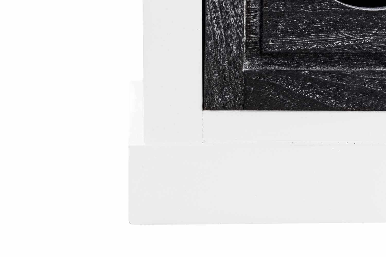 CLP Sitzbank Camila mit Stauraum I Holzbank im Landhausstil I Platzsparende Dielenbank mit Vier Aufbewahrungsk/örben und Einem gro/ßen Fach mit H/ängeklappe wei/ß//grau