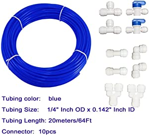 Malida 1/4 inch RO Water blue Tubing, Hose Pipe for RO Water purifiers System,+quick connector 10pcs. (tubing 20meters)