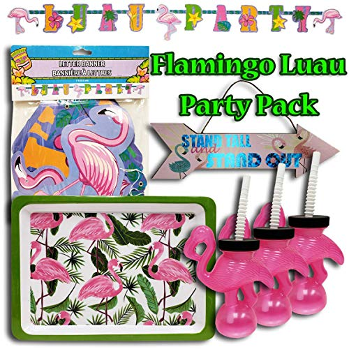 Flamingo Luau Party Bundle, Includes 3 Flamingo Cups with Lid and Straw, 1 Decorative Sign, 1 Letter Banner, and 1 Severing Tray