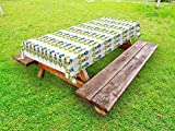 Lunarable Flower Outdoor Tablecloth, Ornamental Bloom Branches Growth Gardening Yard Theme Petals on A Row, Decorative Washable Picnic Table Cloth, 58 X 104 Inches, Lime Green Blue Pink