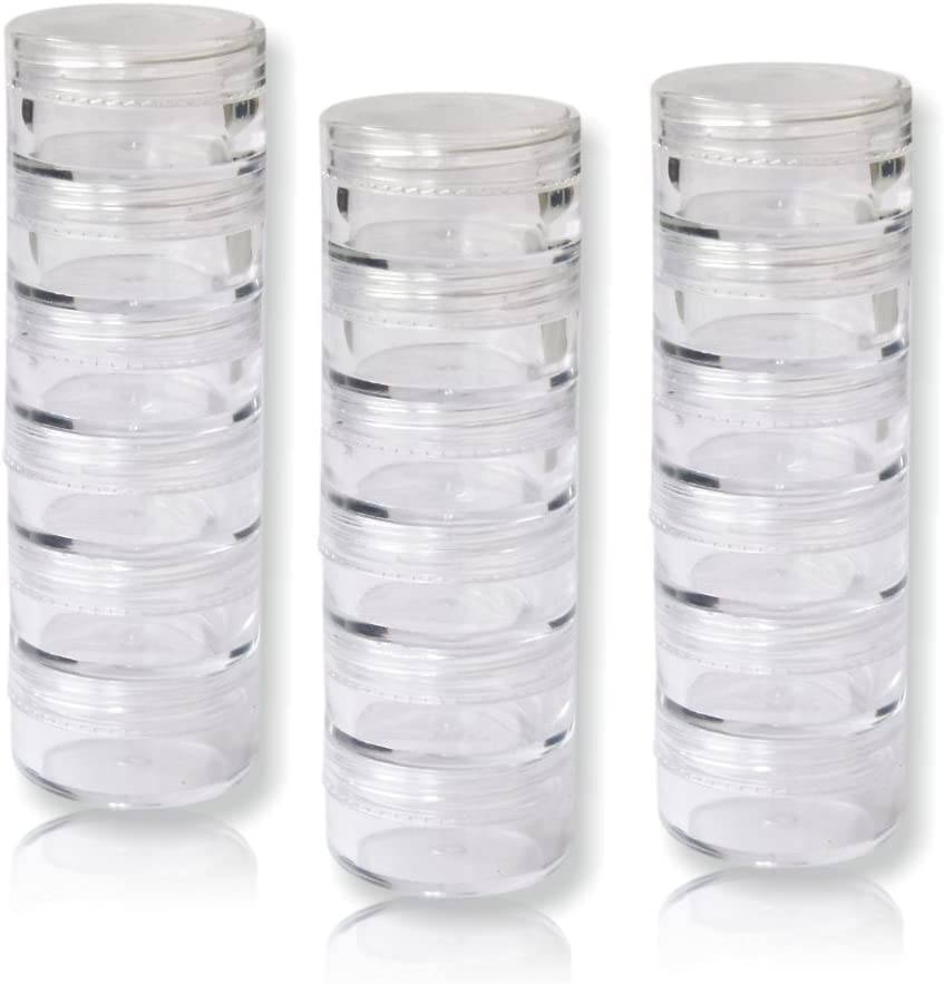 18Pieza apilable döschen Talla 2/10ml (vacío, vacío) decorado con rosca transparente Diámetro 37mm de nail FUN
