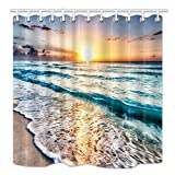 Beach Shower Curtain HNMQ Ocean Shower Curtain, Sand Beach Wave Sea Water Pattern Set, Mildew Resistant Fabric Bathroom Decorations, Bath Curtains Hooks Included, 69X70 Inches