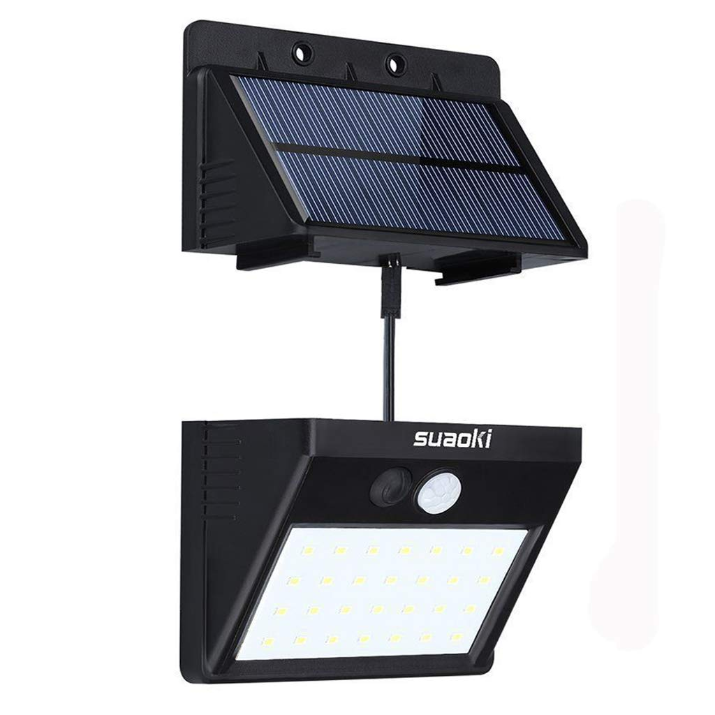 SUAOKI Solar Lights Outdoor Super Bright 28 LED Waterproof Motion Sensor Security Light Detachable Design Wall Light for Deck Patio Yard Backyard Pathway Driveway Garden, Pack of 1