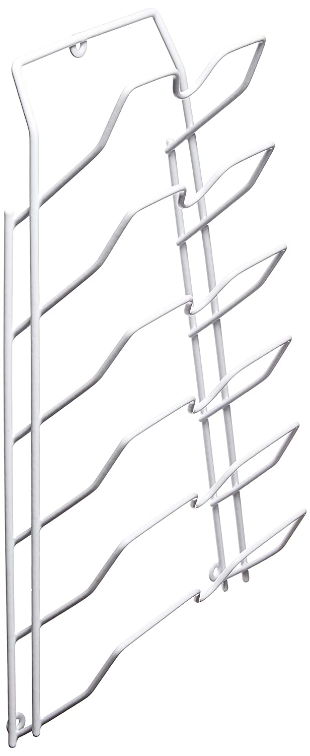 Evelots Cabinet Door and Wall Pot Lid Storage Rack for 6 Pot/Pan Covers 3321