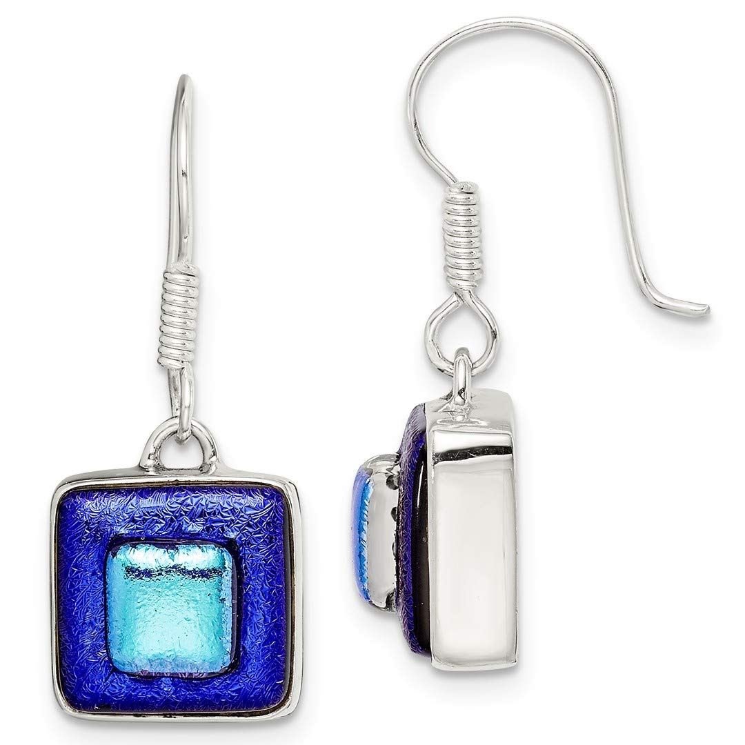 ICE CARATS 925 Sterling Silver Blue Dichroic Glass Square Shaped Drop Dangle Chandelier Earrings Fine Jewelry Ideal Gifts For Women Gift Set From Heart