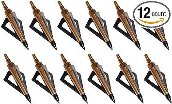 12pcs 31/'/' Fiberglass Arrows Hunting Screw in Tips /& 125grain Broadheads Golden