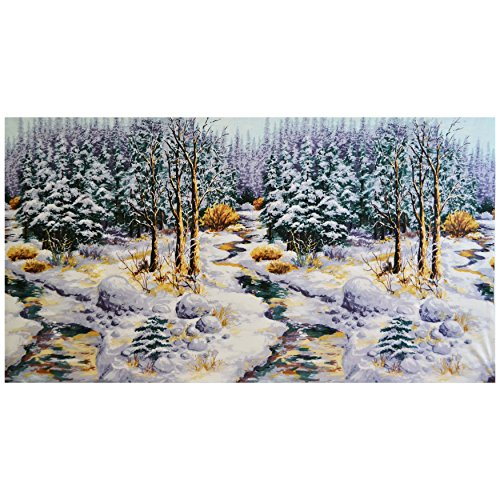 Michael Miller Snow Chateau Snowy Woods 23.5in Panel Winter - Chateau Quilt