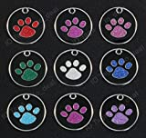 Round Glitter Paw Pet ID Tags Custom Engraved For Dog & Cat Tag Personalized 1-1/16