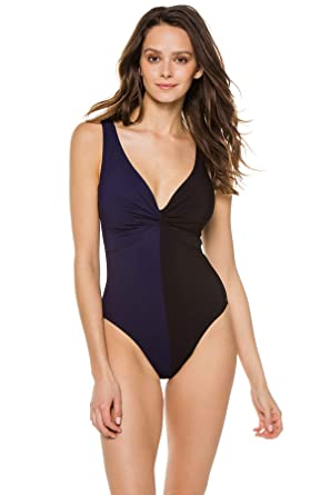 69457244209 Karla Colletto Women's Sorella Color Block One Piece Swimsuit Swimsuit Navy/ Black 6