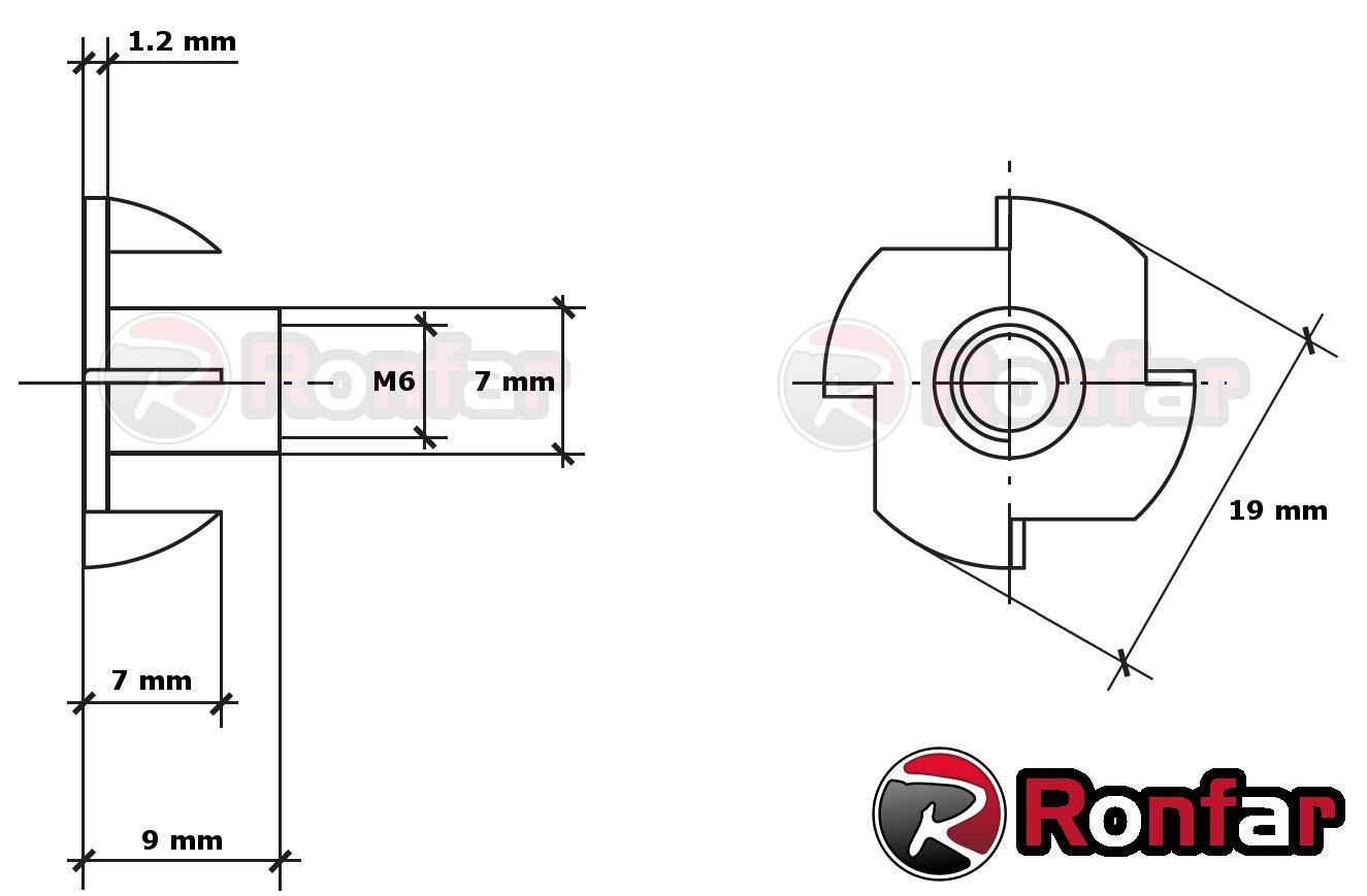 RONFAR Ecrou en T Ecrou M8 x 11 mm 100 pi/èces