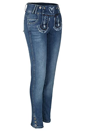 Country-Line Damen Damen Jeans lang Lederhosenlook, 43 Blau, 48 ... cac2793645