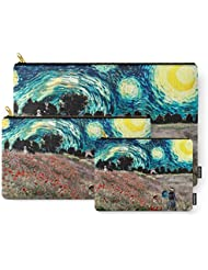 Society6 Monets Poppies With Van Goghs Starry Night Sky Carry-All Pouch