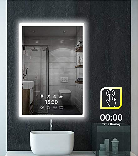Peralng LED Bathroom Mirror Wall Mounted Light,24 X 32 Lighted Edge Backlit Vanity Light with 3-Colour Dimmable Touch Switch Horizontal Rectangle 18W Time Display