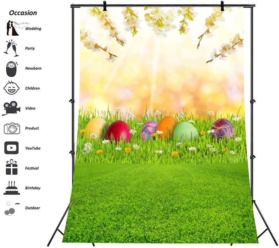 Easter Theme 6.5x8ft Polyester Photography Background Spring Outdoor Grassland Colorful Easter Eggs Flowering Branches Scenic Backdrop Easter Egg Hunt Day Banner Greeting Card Child Baby Shoot
