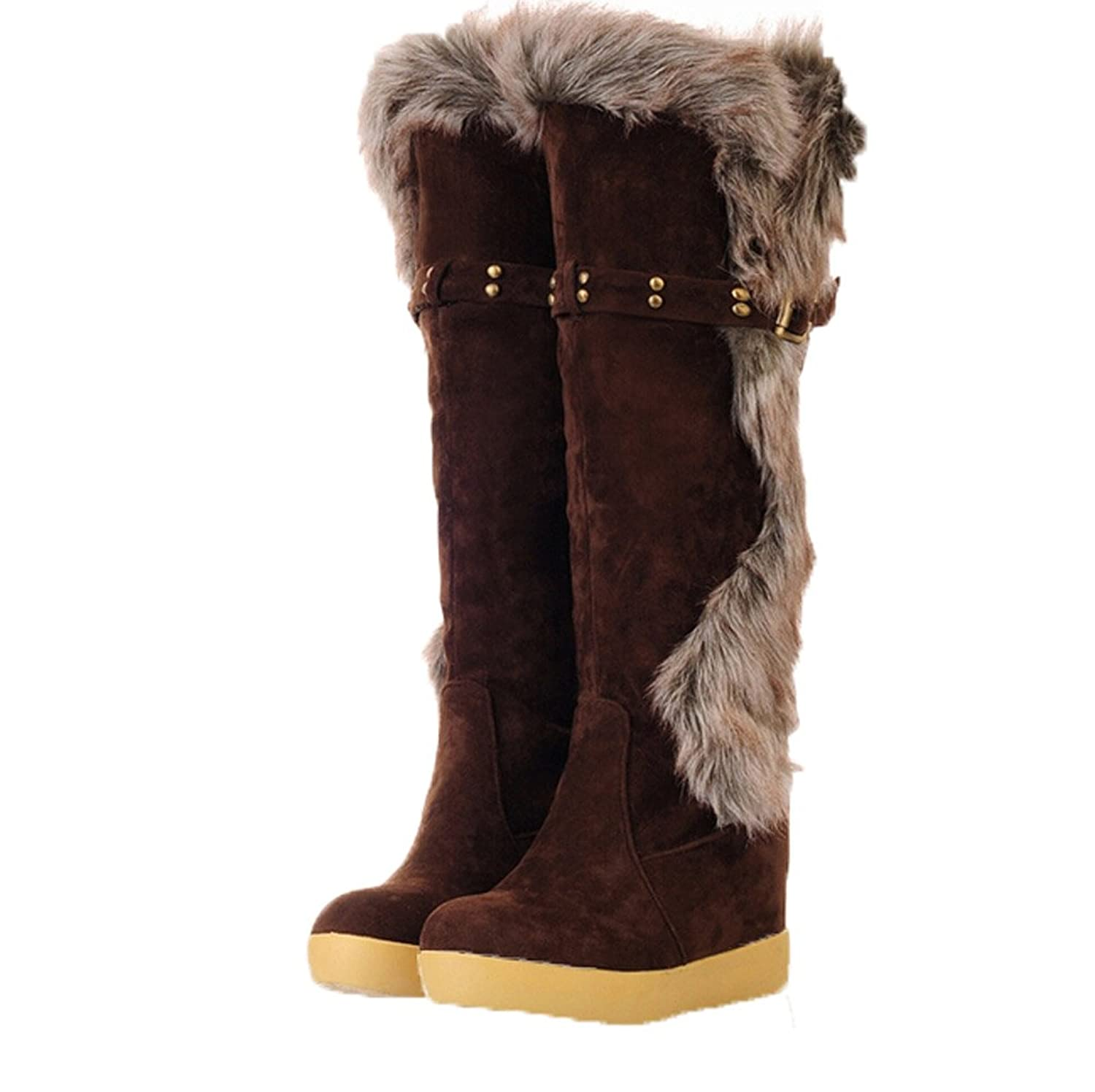 Womens Fashion Faux-fur Low Top Knee High Snow Boots