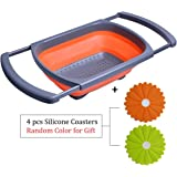 Over the Sink Collapsible Colander - Sink Strainer with Extendable Handles - Free Bonus Silicone Coasters - 6-quart Capacity - By OUCHAN