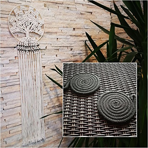 Elegance Wall Hanging (Royal Bud Macrame Wall Hanging Dream Catcher Handmade White Cotton Woven Wall Decor for Home Living Room Bedroom and Kitchen with 2 Coasters)