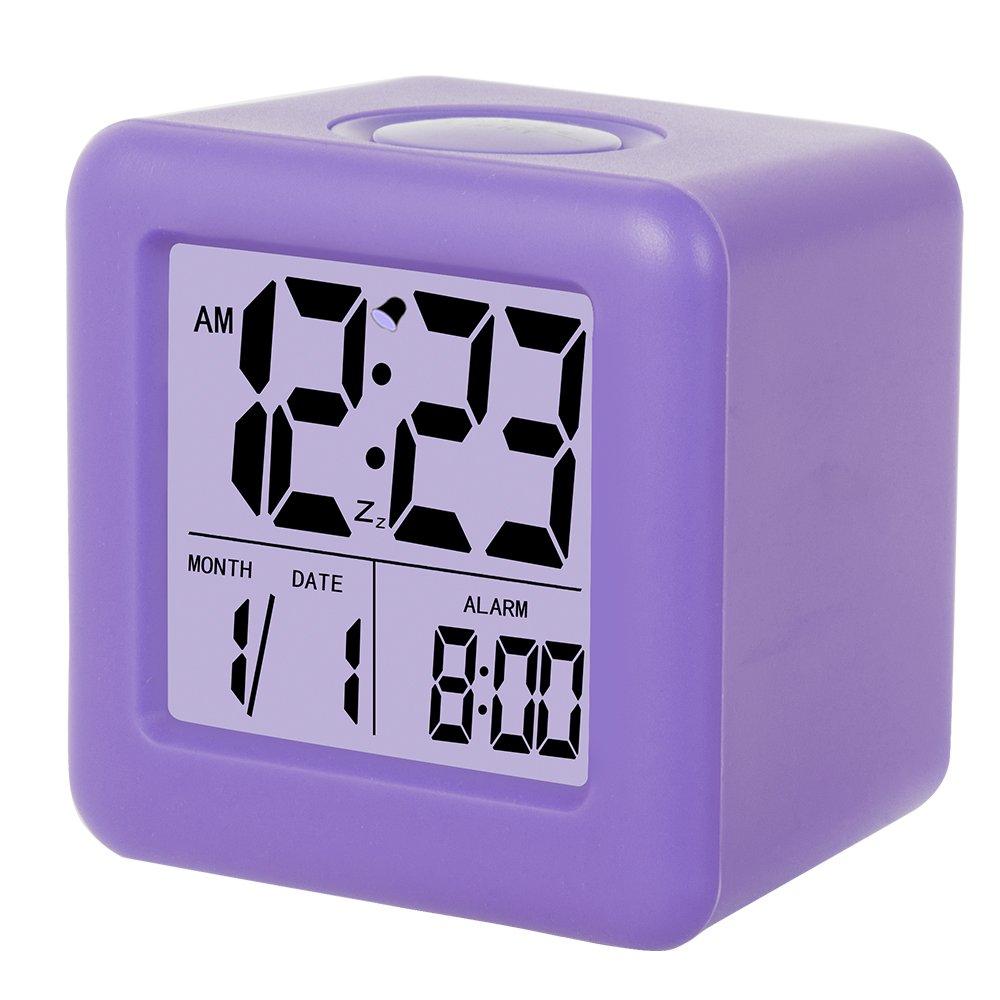 SkyNature Digital Alarm Clock, Kids Clock,3'' LED Display with Nightlight, Alarm, Snooze,Calendar for Girls Bedrooms(Purple)