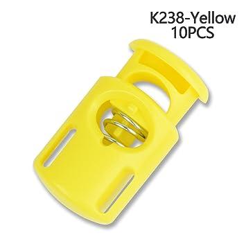 Cierre de plástico para cordones con muelle, multicolor , Amarillo, 10 unidades: Amazon.es: Hogar