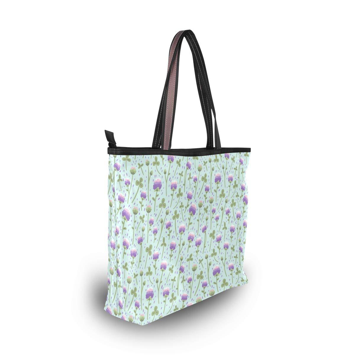Women Handle Pink Clover Leaf St Patricks Day Satchel Handbags Tote Purse Shoulder Bag Big Capacity Handbag