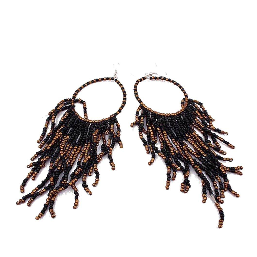 Mujers Pendientes, Xinan Bohemio Flecos Largo Granos Grandes Los Pendientes de Gota Colgante (Negro) Xinxinshidai Xinantime_1769