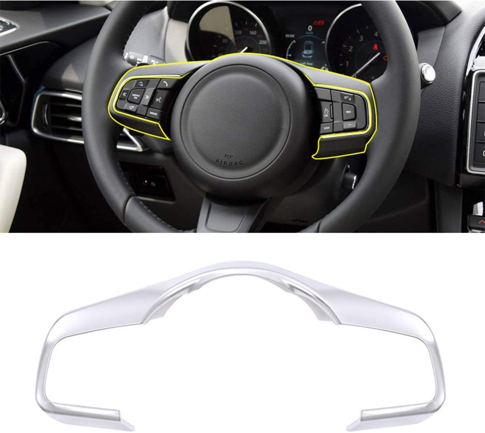 ABS Chrome Plastic Steering Wheel Decoration Frame Trim For Jaguar F-Pace F-TYPE XF XF XFL 2016 2017 2018 matte silver