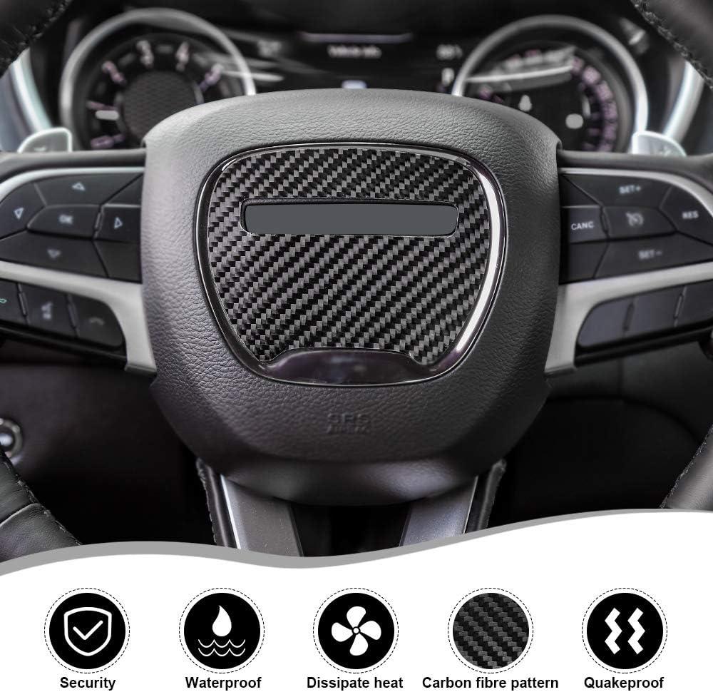 JeCar Steering Wheel Cover Carbon Fiber Interior Sticker for 2015-2019 Dodge Challenger