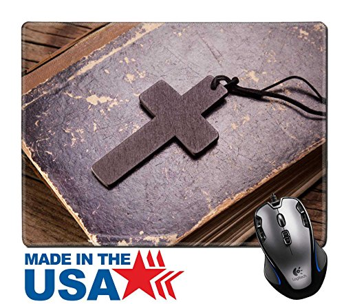 """MSD Natural Rubber Mouse Pad/Mat with Stitched Edges 9.8"""" x 7.9"""" Closeup of wooden Christian cross on bible IMAGE 35686415"""