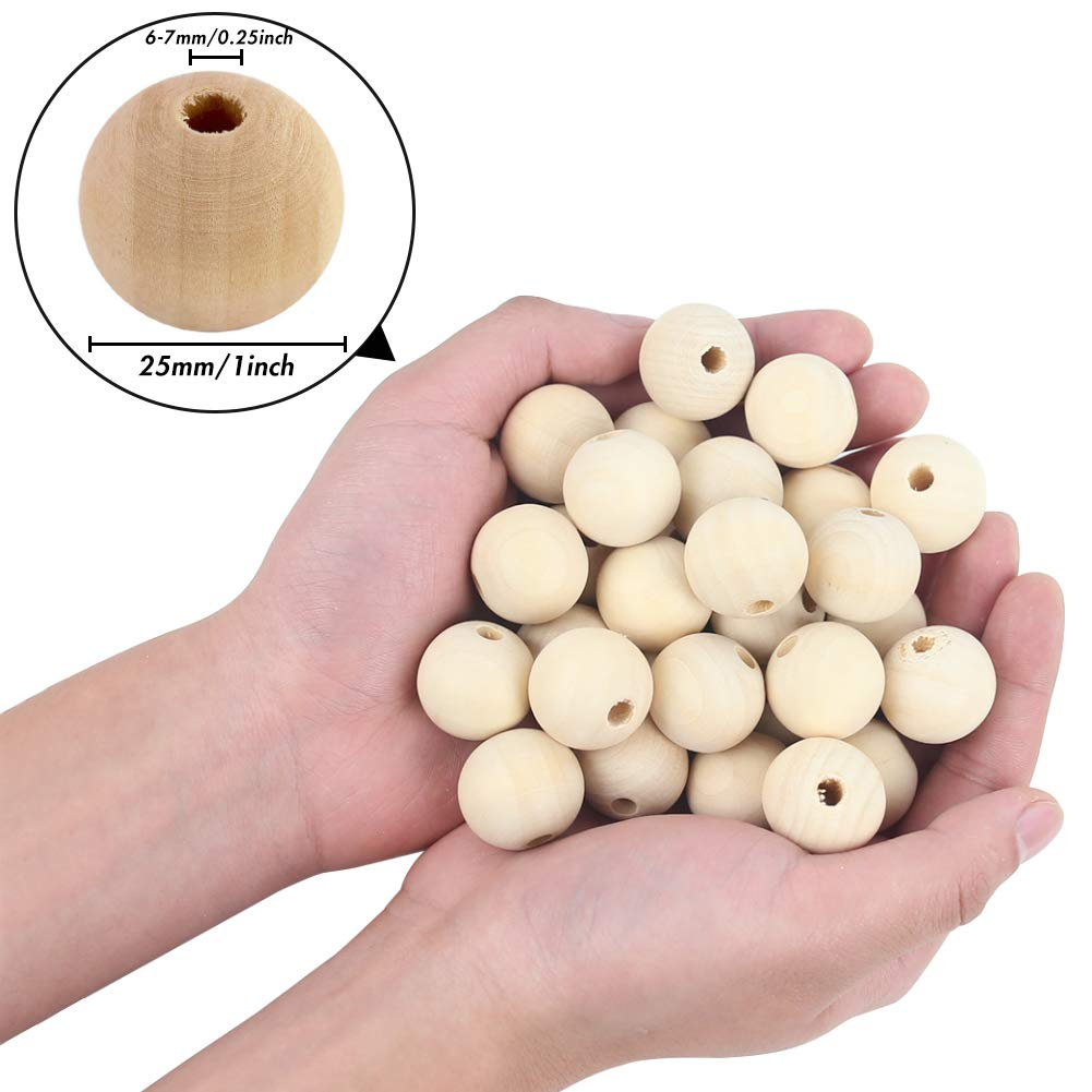 BigOtters Wood Craft Beads, 65PCS 25mm (1 Inch) Natural Unfinished Wood Spacer Beads Rustic Country Beads Round Ball Wooden Loose Beads for Crafts DIY Jewelry Making Home Favor Holiday Decor