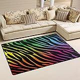WOZO Rainbow Zebra Print Area Rug Rugs Non-Slip Floor Mat Doormats Living Room Bedroom 60 x 39 inches