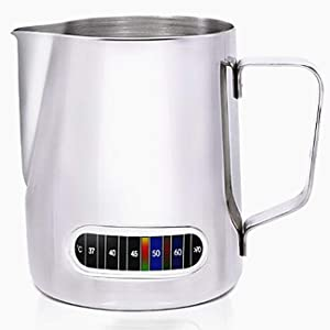 Milk Frothing Pitchers with Integrated Thermometer,Latte Art Jug Stainless Steel Creamer Temperature Espresso Steaming Pitchers 20 oz (600 ml)
