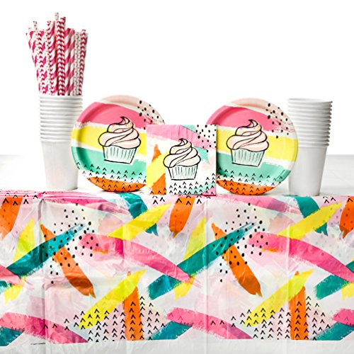 Chic Cupcake Birthday Party Supplies Pack for 16 Guests: Straws, Dessert Plates, Beverage Napkins, Table Cover, and -