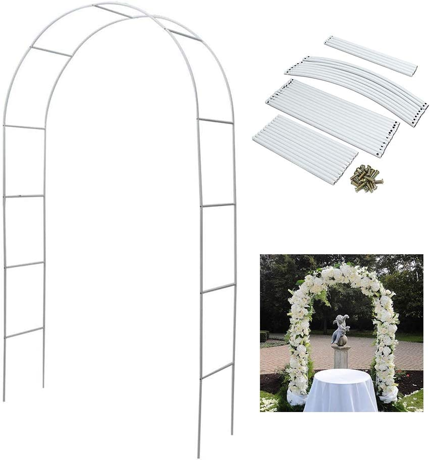Metal Arch Wedding Garden 94.5 inch H x 55 inch W Assemble Freely for Various Climbing Plant Roses Vines Bridal Party Decoration Pergola Arbor,White