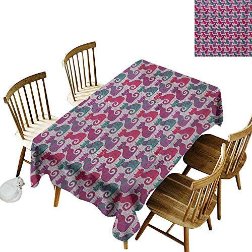 (Rectangular Tablecloth W50 x L80 Purple Swirls and Curls Background with Damask Inspired Paisleys on The Ethnic Colorful Cat Multicolor Great for Family Outdoors Restaurant Party Wedding Coffee Bar)