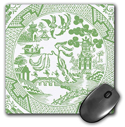 (3dRose Russ Billington Designs - Willow Pattern Detail in Jade Green and White - Mousepad (mp_262243_1))