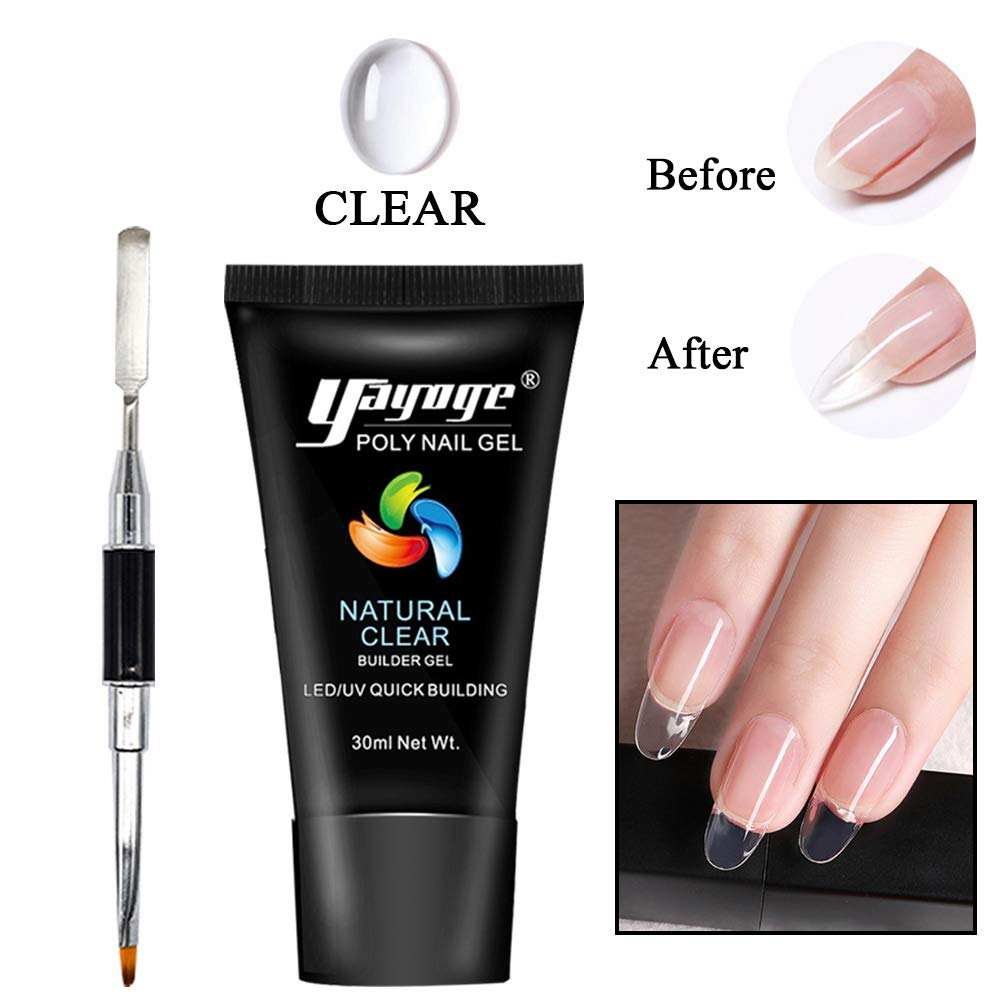 Yayoge Poly Gel Nail Kit 30ml Nail Enhancement Builder Gel Nail Gel Extension Gel with Polytool Brush Pen for Starter and Professional Nail Technician(Clear) by yayoge