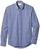Buttoned Down Men's Slim Fit Collar Sport Shirt, Navy/Bright Blue Check, L 32/33