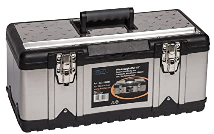 Caja de herramientas y bandeja para herramientas, acero inoxidable, tamaño XL,