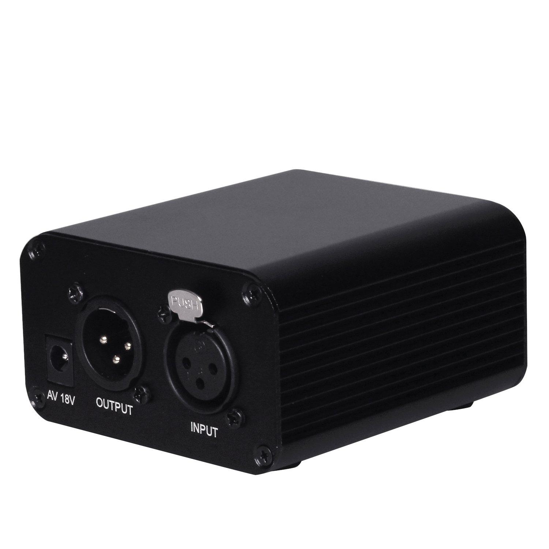 EgoEra® Unique Canal 48V Interface XLR Alimentation Fantôme Leistungversorgung pour tout micro à condensateur Mixer Musique Enregistrement vocal Annulation de bruit E-TOP
