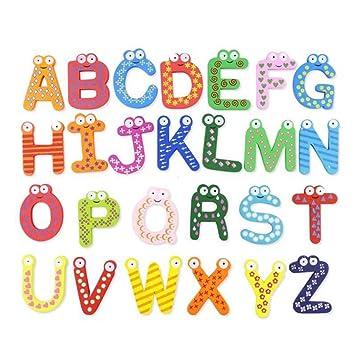 Aofocy Paquete de 26 Letras del Alfabeto número imanes de Nevera ...